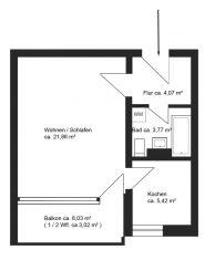 1-Zimmer-Apartment mit großem Südbalkon in  Taufkirchen